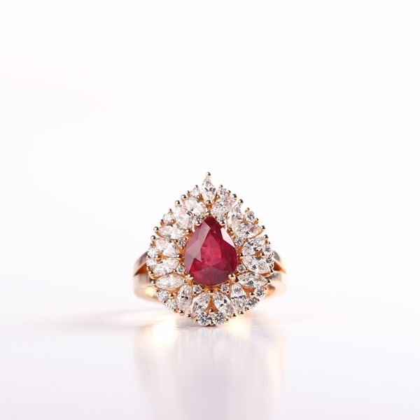 Picture of Dazzling  Pink Gold Diamond & Ruby Ring