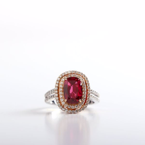 Picture of Magnificent White & Pink Gold, Diamond &Ruby Ring