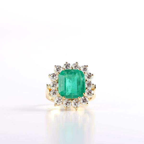Emerald And Diamond Yellow Ring Front View