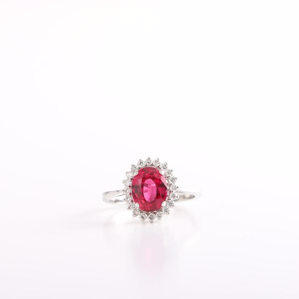Picture of Gorgeous White Diamond & Ruby Ring