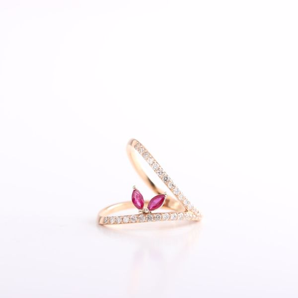 Picture of Outstanding Diamond & Rubies V Ring