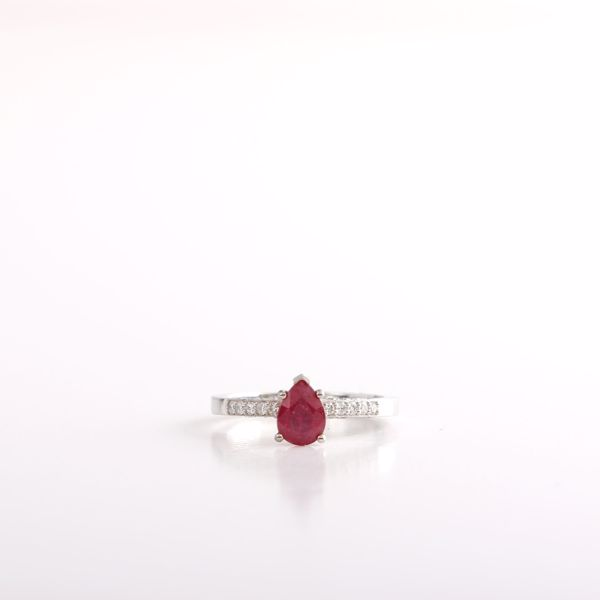 Picture of Elegant Pear Ruby &  Diamond Ring