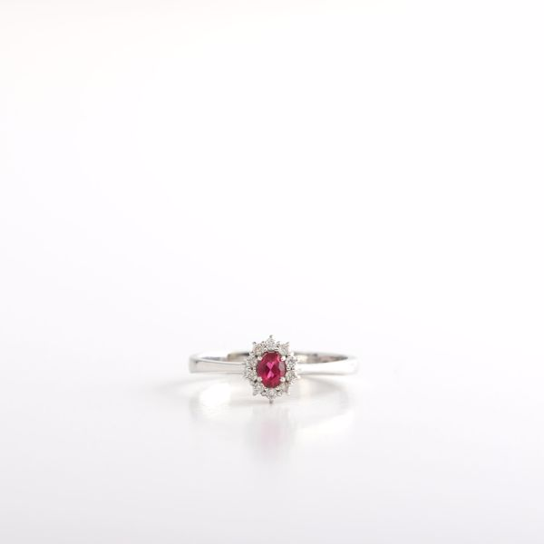 Picture of Simple Ruby & Diamond Ring