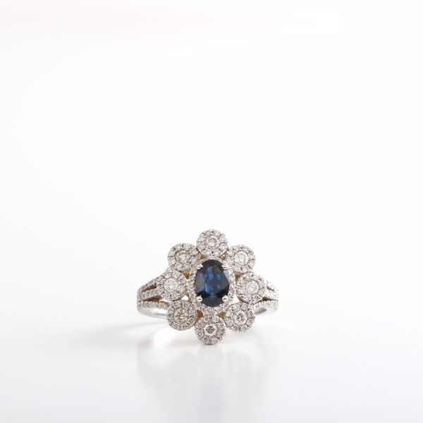 Picture of Gorgeous Diamonds & Genuine Sapphire Ring