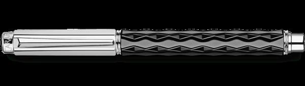 Silver-Plated, Rhodium-Coated Varius Ceramic Black Roller Pen Horizontal View