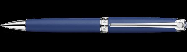 Silver-Plated, Rhodium-Coated Leman Blue Night Matt Ballpoint Pen Horizontal View