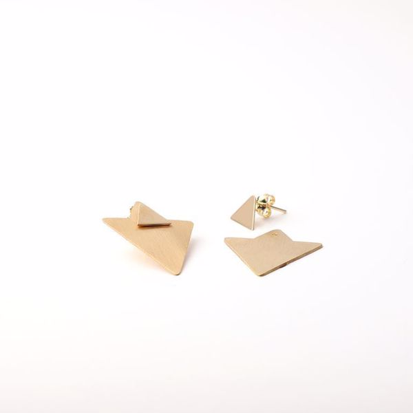 J.R.S. Geometrical Triangle Earrings Front View