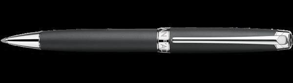 Silver-Plated, Rhodium-Coated Leman Black Matt Ballpoint Pen Horizontal View