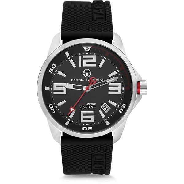 Gents Black Silicone Strap Front View