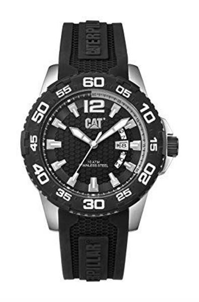 Analog Date Black Rubber Front View