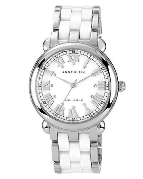 Ceramic Silver-Tone White Bracelet Front View