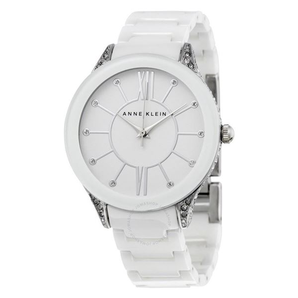 White Ceramic Analog Quartz Front View