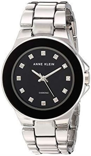 Diamond-Accented Silver-Tone Bracelet Black Dial Front View