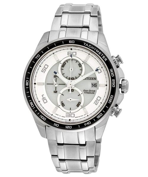 Gents Chronograph White Dial Front View