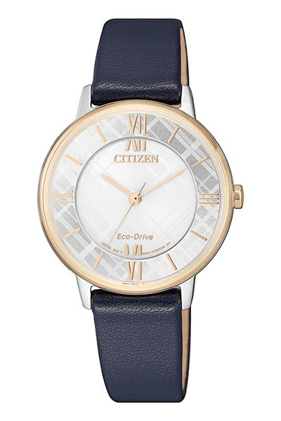 Ladies Navy Leather Strap Front View
