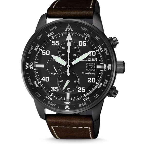 Chronograph Aviator Black Case&Dial Front View
