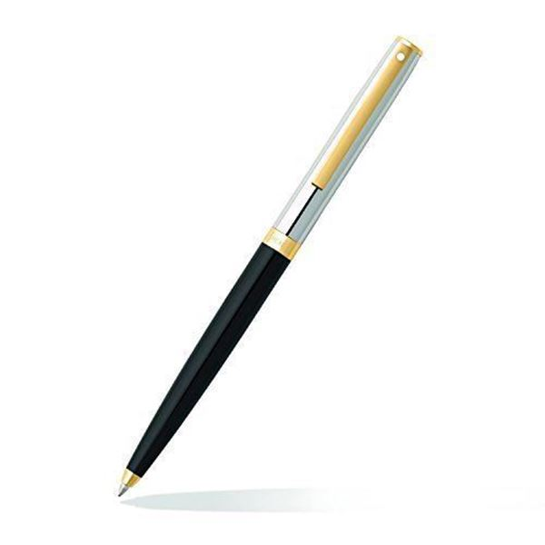 Sagaris Black Barrel Chrome Cap Ballpoint Pen Oblique View