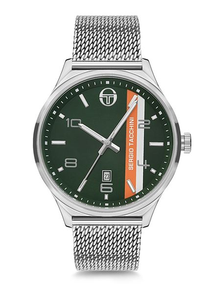 Stainless Steel Green&Black Dial Front View