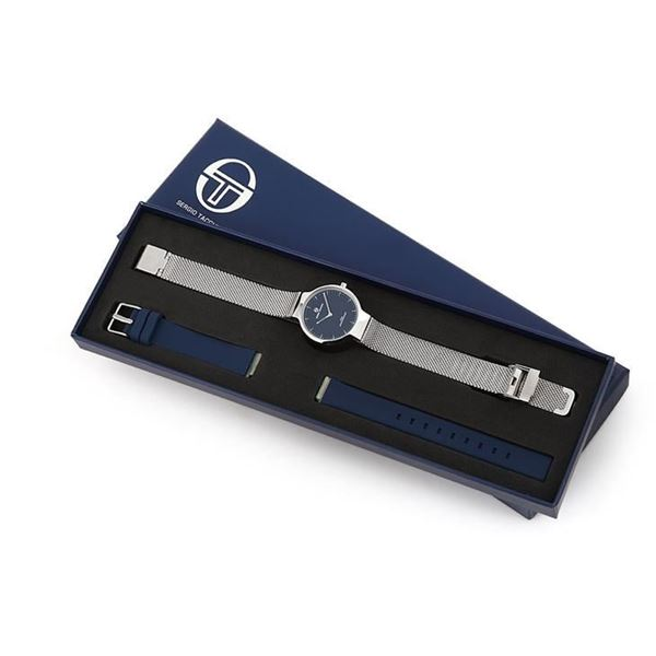 Ladies Double Bands Navy Blue&Silver In Box View