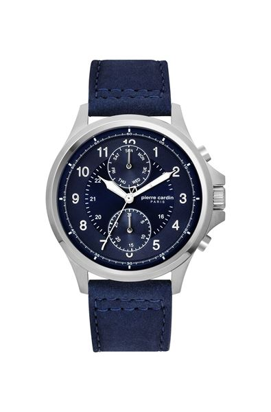Gents Blue Leather Strap Front View