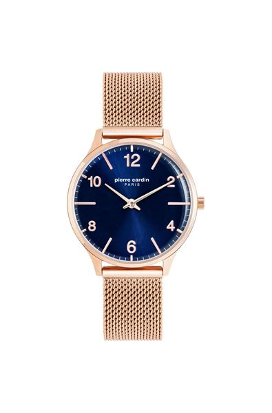 Ladies Rose Gold Navy Dial Front View