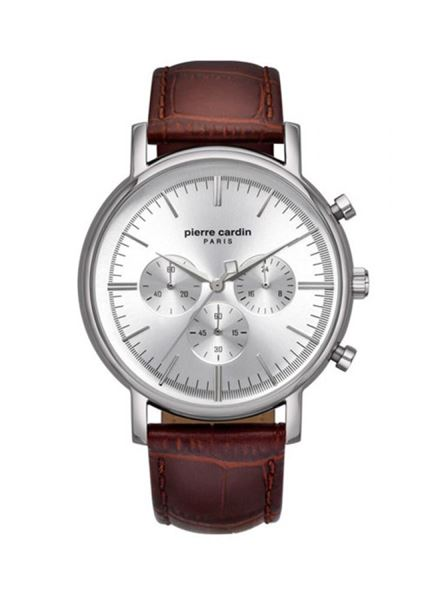 Gents Chrono Brown Leather Strap Front View