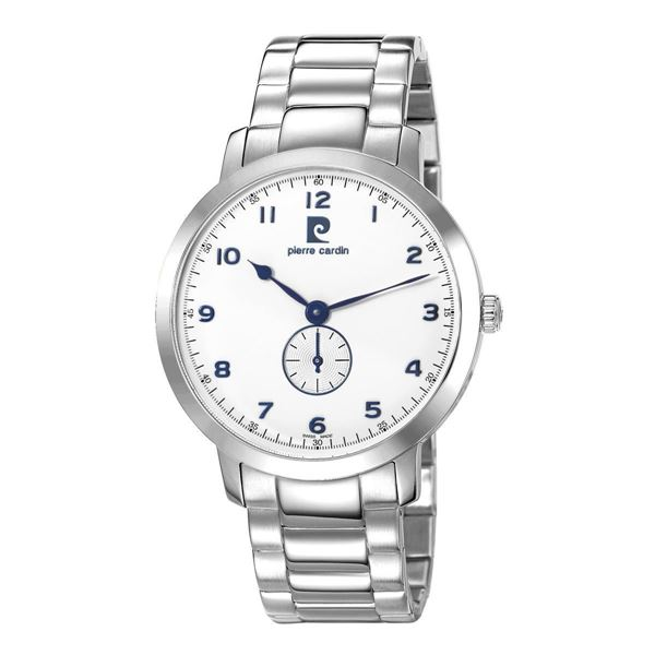 Gents Stainless Steel White Dial Front View