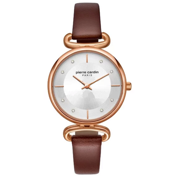 Ladies Gold Case&Brown Leather Strap Front View