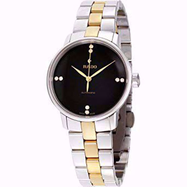 Rado Coupole Classic Black Dial Stainless Steel Ladies Watch Front View