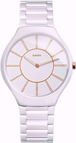 Rado True Thinline Jubile White Dial Ceramic Watch Front View