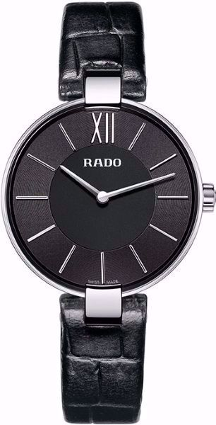 Rado Coupole Quartz Analog Black Leather Watch Front View