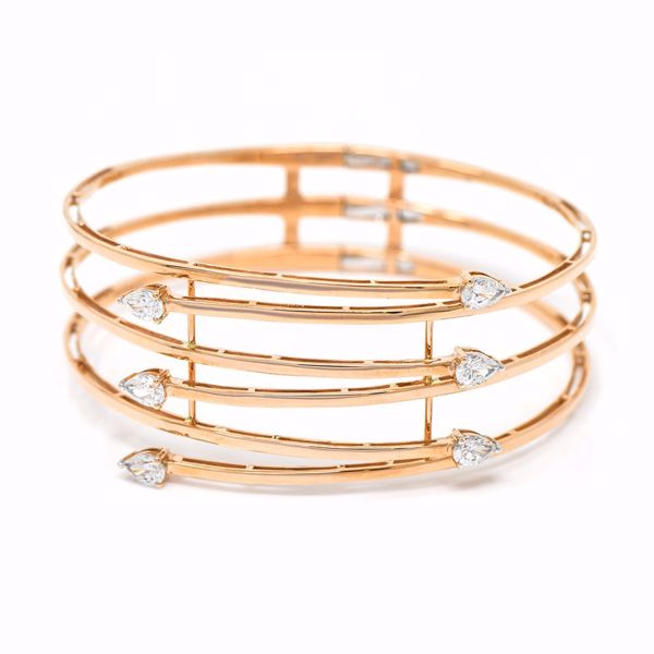 Picture of Stacked Pink Gold Bangle With Diamonds
