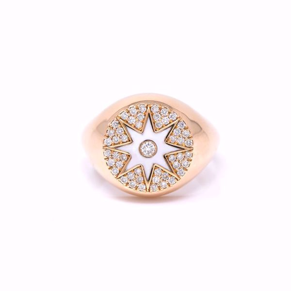 Picture of Amazing White Enameled Pinky Diamond Ring