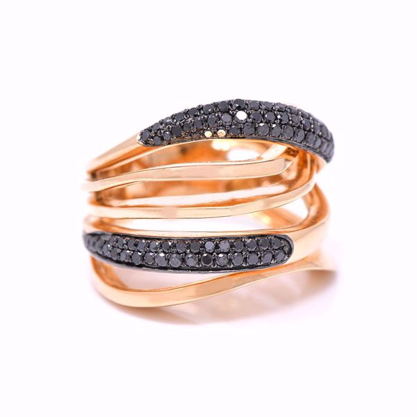 Picture of Layered Black Diamond & Pink Gold Ring