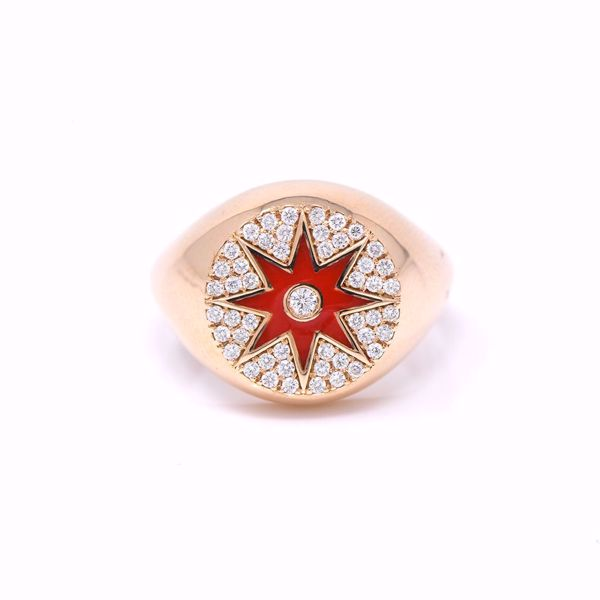 Picture of Glamorous Red Enameled Pinky Ring