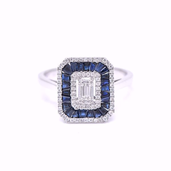 Picture of Sapphire & White Diamond Illusion Solitaire Ring