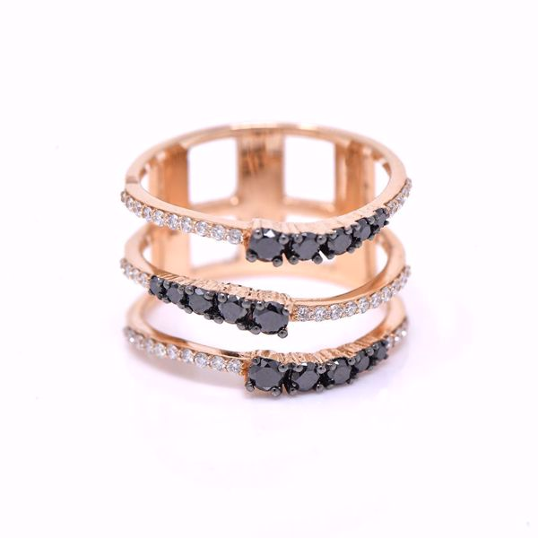 Picture of Black And White Diamond Three Row Ring
