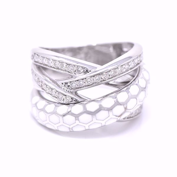 Picture of Criss Cross White Enameled And Diamond Ring
