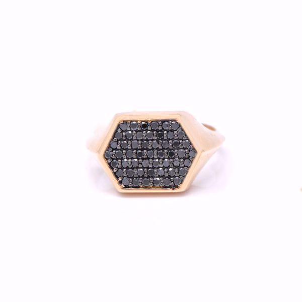 Picture of Black Diamond Hexagon Pinky Ring
