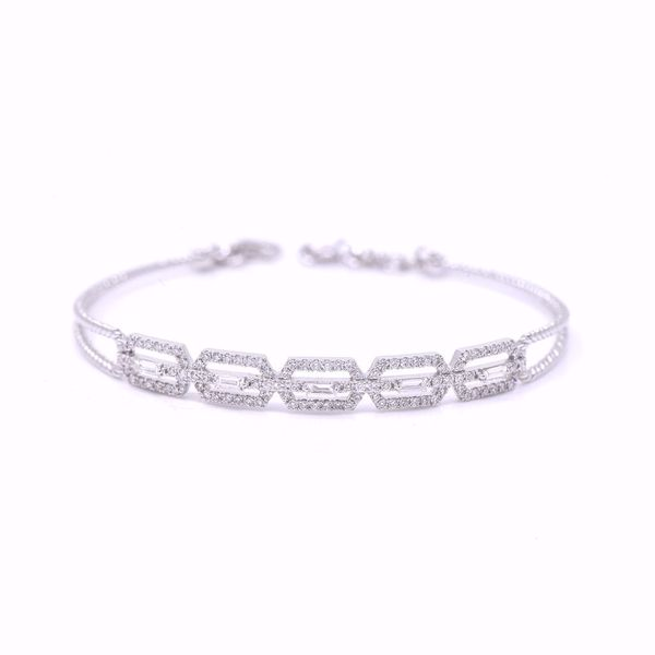 صورة White Hexagon Diamond Bangle