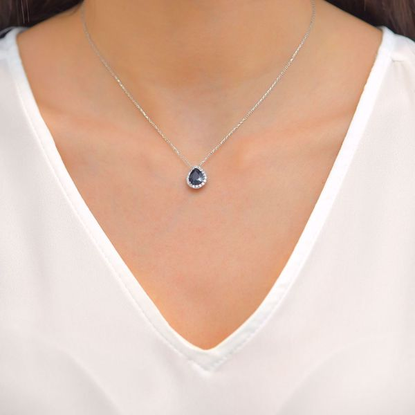 Picture of Charming Pear Sapphire & Diamond Necklace
