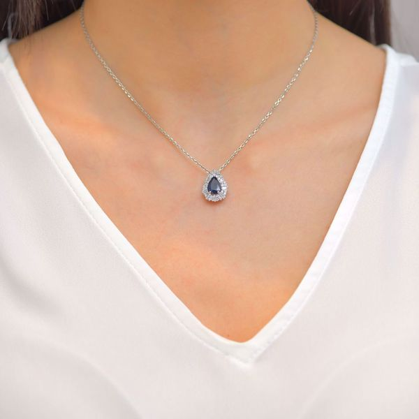 Picture of Engaging Pear Sapphire & Diamond Necklace