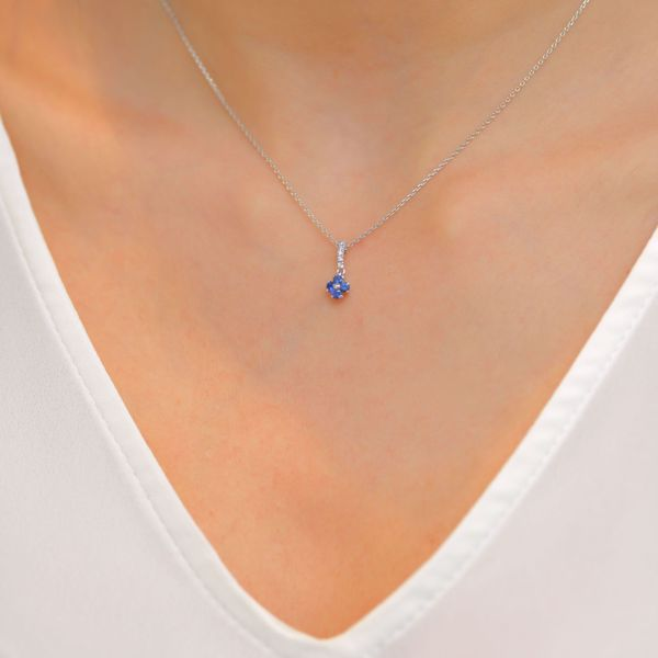 Picture of Elegant Sapphire & Diamond Cross Necklace