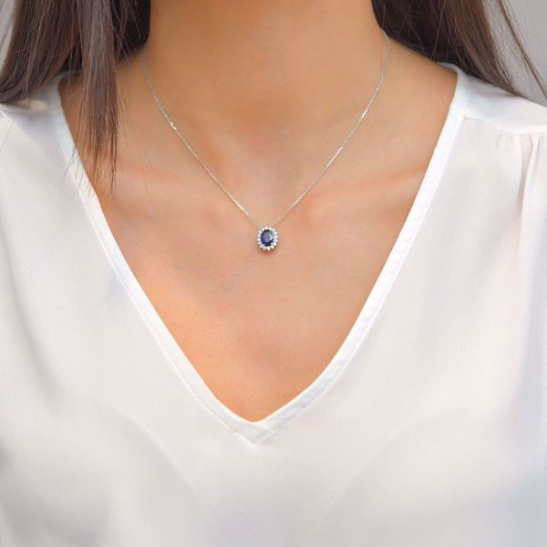 Picture of Classy Sapphire & Diamond Necklace
