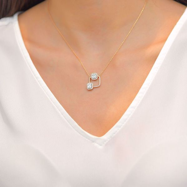 Picture of Squares on Square Diamond Necklace