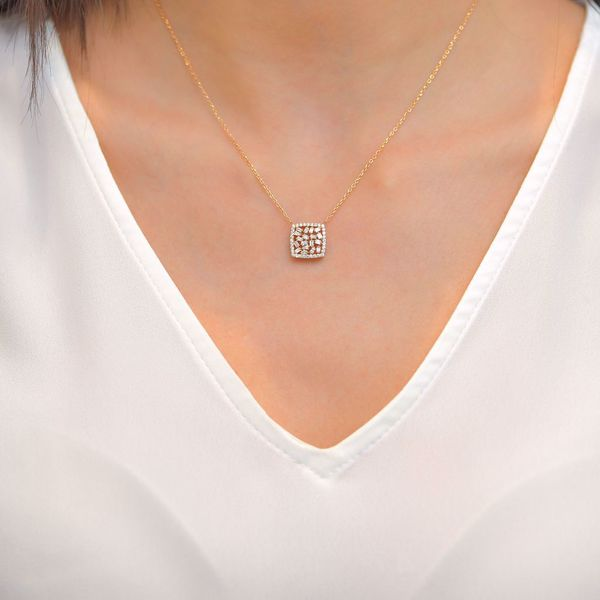 Picture of Engaging Square Diamond Necklace