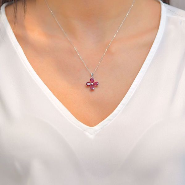 Picture of Attractive Ruby & Diamond Cross Necklace