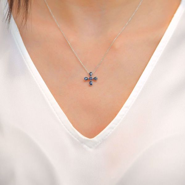 Picture of Refined Sapphire Cross Necklace
