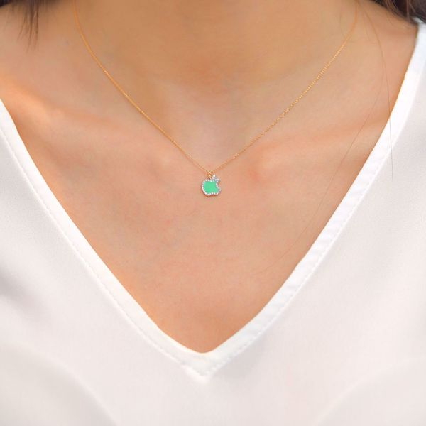 Picture of Cute Green Apple Diamond Necklace