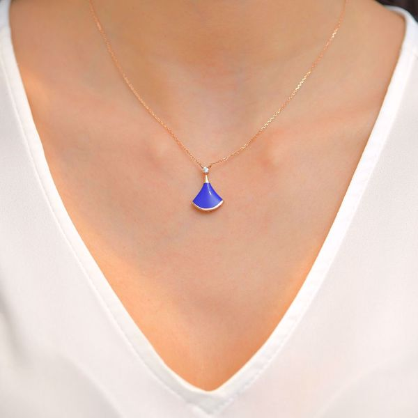 Picture of Cute Blue Enamel & Diamond Necklace